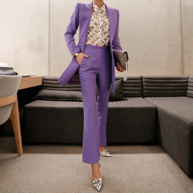 Online Shop BGTEEVER Fashion Purple Women Pant Suit Double .