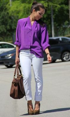 purple blouse outfit - Google Search   Purple shirt outfits .