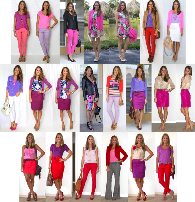 12 Outfit Ideas: Red, Pink and Purple   Colourful outfits, Js .