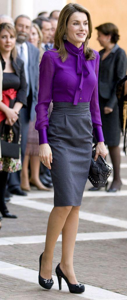purple blouse - grey skirt - black pumps. letizia ortiz   Purple .