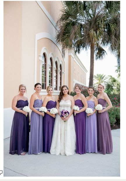 Different shades of purple for bridesmaids. Beautiful! | Lilac .