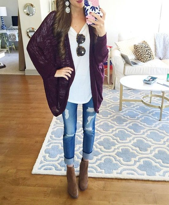 Purple And White Cardigan | Outdoor Jack