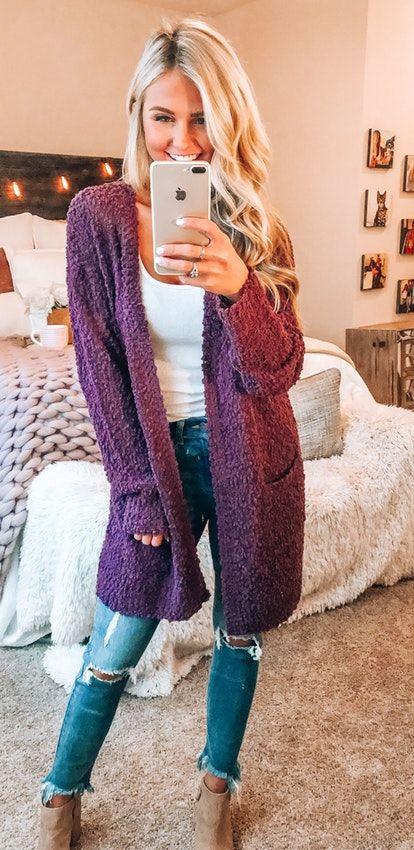summer #outfits purple knit cardigan. | Stylish fall outfits .