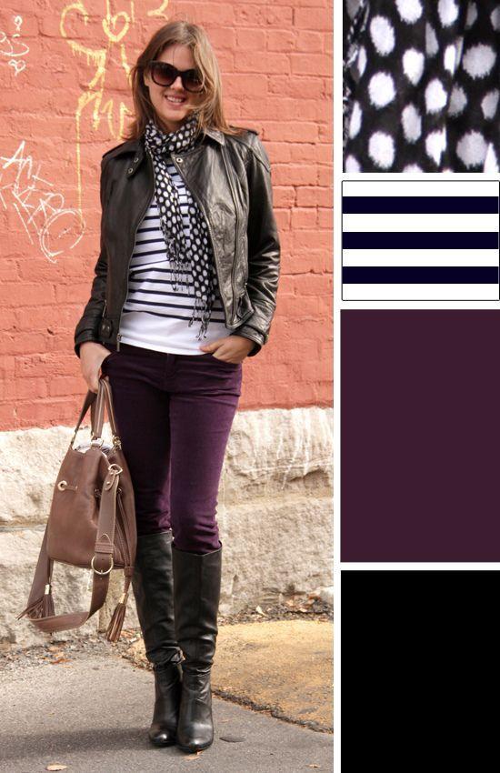 Black leather jacket, burgundy skinnies, black and white stripe .