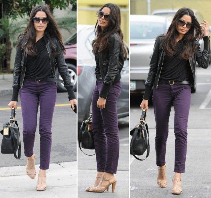 Deep Magenta/Violet skinny jeans | Purple pants outfit, Purple top .