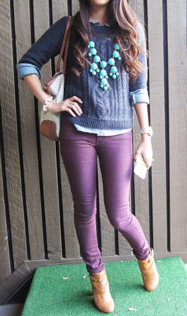 blue sweater dark purple pants | Purple pants outfit, Purple jeans .