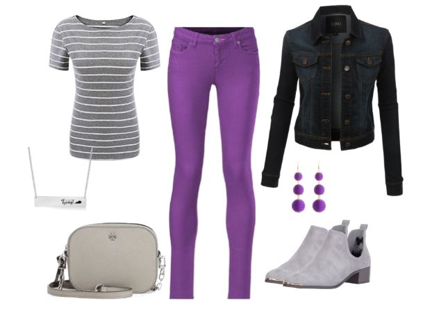 Denim Jacket, Purple Jeans and Booties | Colored Jeans Outfit Id