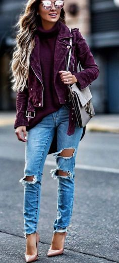 burgundy suede jacket | Fall outfits, Clothes, Fashi