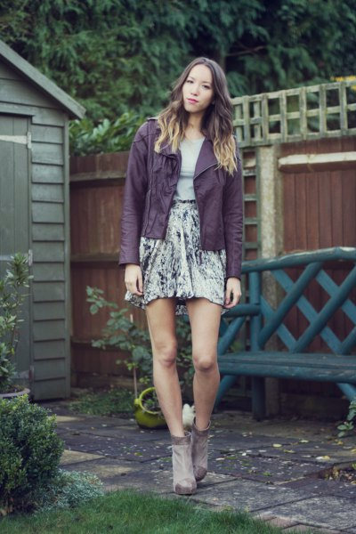 15 Amazing Purple Leather Jacket Outfit Ideas for Women - FMag.c