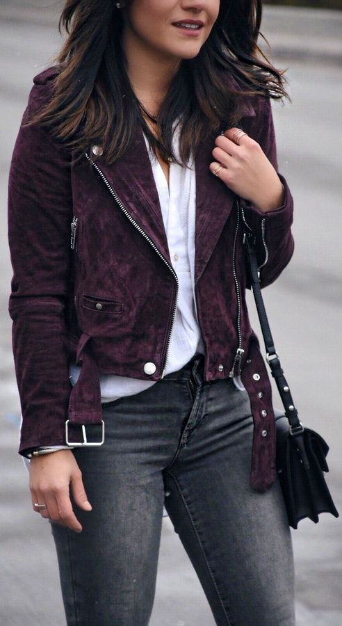 40 Express Outfit Ideas To Copy | Suede jacket outfit, Purple .