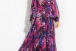 British Purple Deep V-Neck Long Sleeve Print Big Hem Beach Maxi .