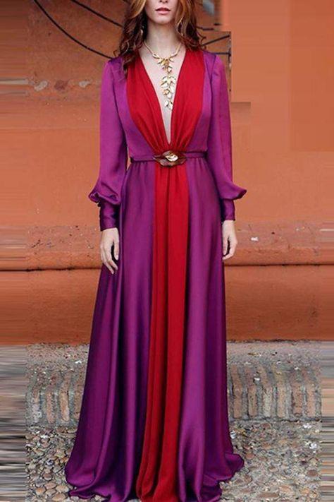 Long Sleeved Deep V Color Matching Dress | Vestidos en chifon .