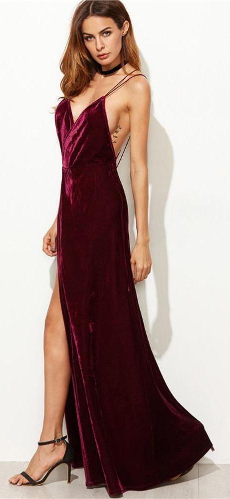Velouria Burgundy Velvet Backless Strappy Maxi Dress | Dresses .