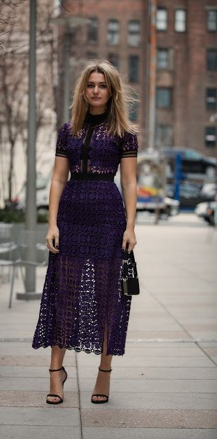 purple midi dress | Beautiful dresses, Guest dresses, Self .