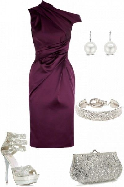 Statement purple dress with silver accessories (With images .