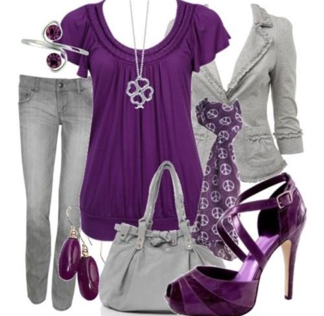 Purple and gray | Casual outfits, Clothes, Fashi