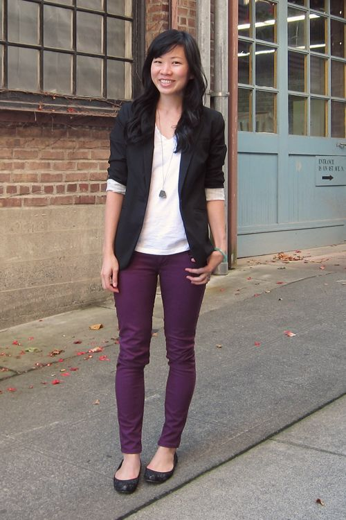 Chic and simple - plum.purple pants white top black jacketI can .