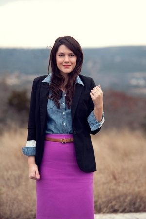 Need ideas on how to wear a brightly colored skirt... | Purple .