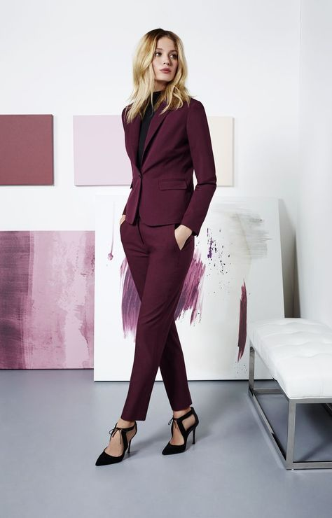 Purple suit | Suits for women, Classy suits, Work outfits wom
