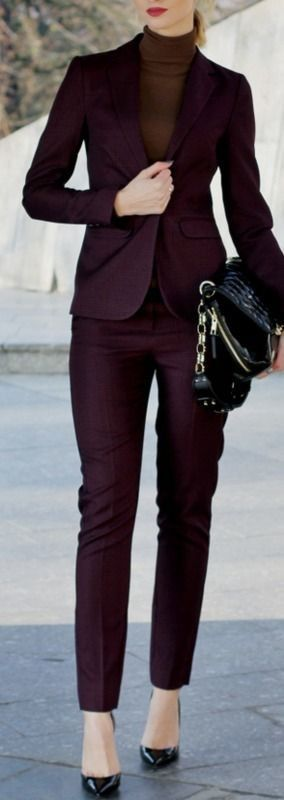 roressclothes closet ideas #women fashion dark purple suit .