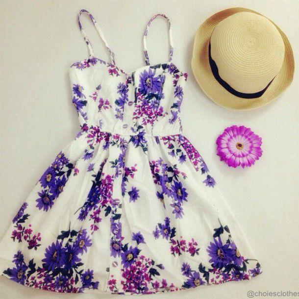 Purple Summer Dresses | dress purple flowers sundress cute dress .