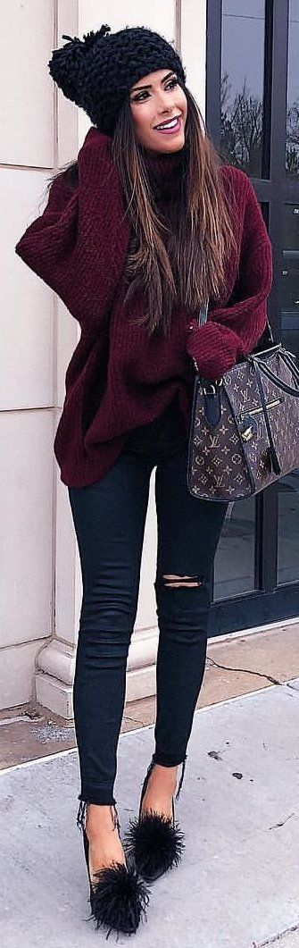 winter #outfits purple sweater and distressed black jeans .