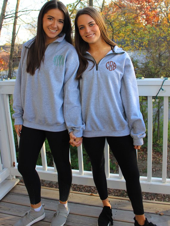 Monogrammed Sweatshirt - 1/4 Zip Monogram Pullover - Gifts for Her .