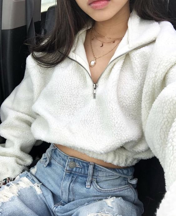 Oversized Teddy Pullover Faux Fur Cropped Jacket Coats in 2020 .