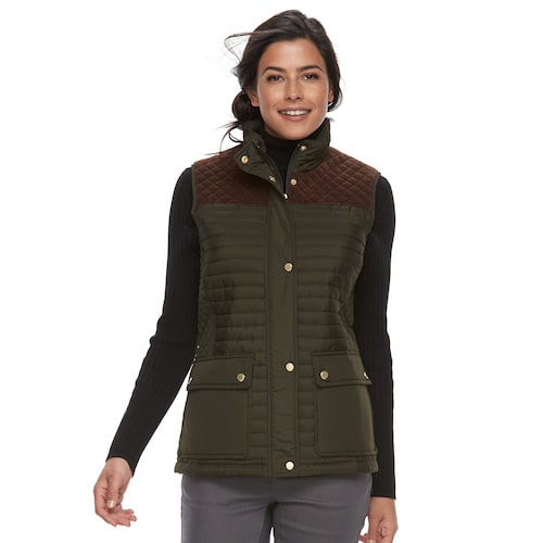 Women's Weathercast Faux-Suede Trim Quilted Ve