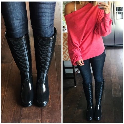 How to Wear Quilted Hunter Boots | Quilted boots outfit, Rainboots .