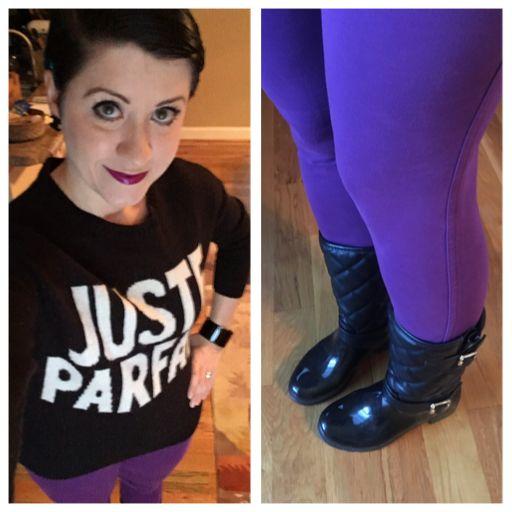 "Zara ""Juste Parfait"" wool sweater, purple pants, quilted rain ."