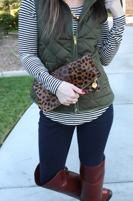 Army Green Quilted Vest, Striped Tee, Dark Wash Skinny Jeans, Over .