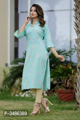 Stylish Women's Turquoise Rayon Kurta | Fashion bazaar, Kurti .