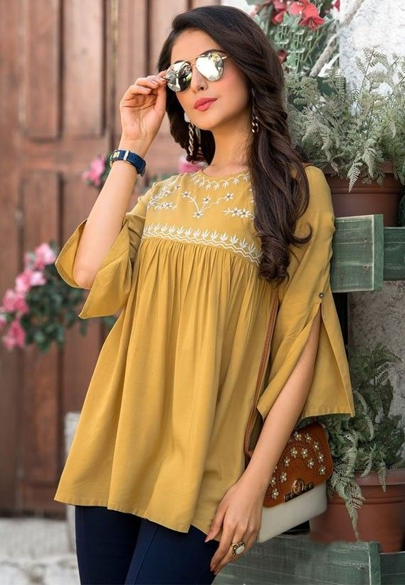 Mustard Embroidered Rayon Tunic in 2020 | Clothes for women .