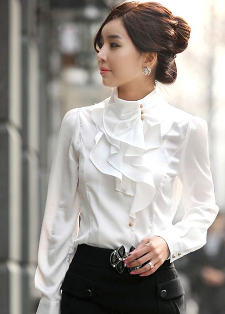 Laconic Mandarin Collar Puff Sleeve Ruffled Rayon Shirt - White .