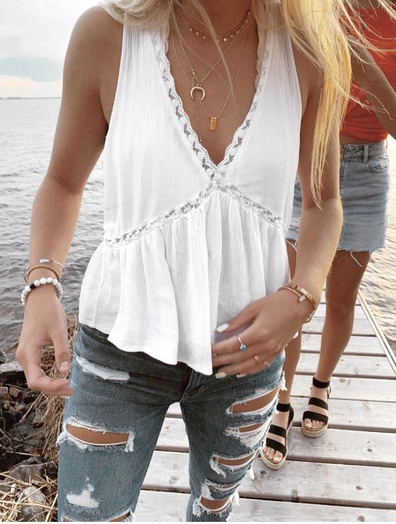 White Cami Top Scoop Neck Lace Rayon Bohemian Women Camis | Top .