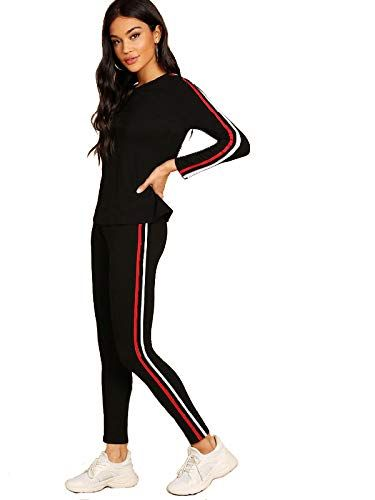 Shocknshop Red And White Striped Tracksuit Tape Tee & Leggings .