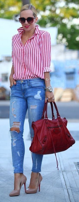 spring #street #style #stripe #outfitideas | Red & White Candy .