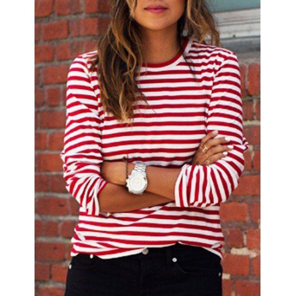 Casual Round Collar Stripes Print Long Sleeve Women's T-Shirt .