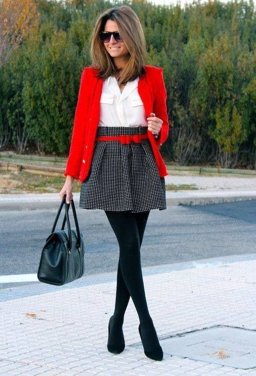 Printed skirt, black pumps, red jacket, red belt, white shirt .