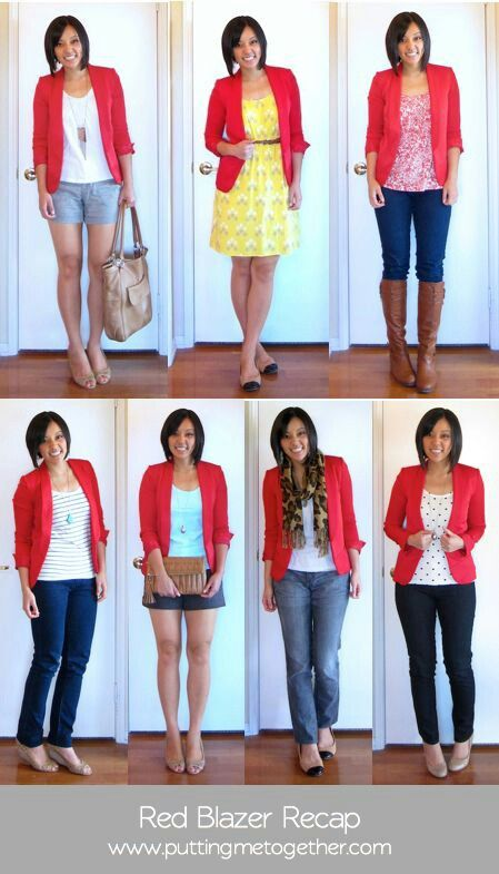 7 ways to rock a red blazer | Red blazer outfit, Red blazer .