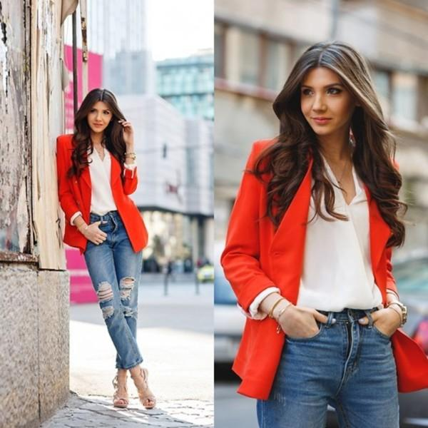 red blazer with boyfriend jeans outfit – Just Trendy Gir