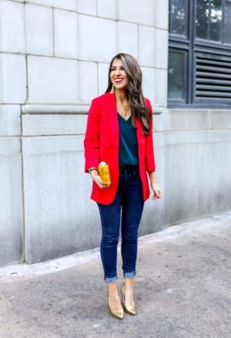 47 Cute Red Blazer Outfit Ideas With Jeans - MATCHE