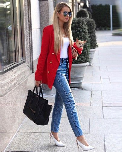 red blazer, white tank top, heels, skinny ripped jeans - fall .