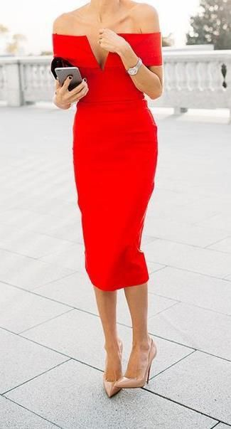 Belle off the shoulder red bodycon dress in 2020 | Red dress .