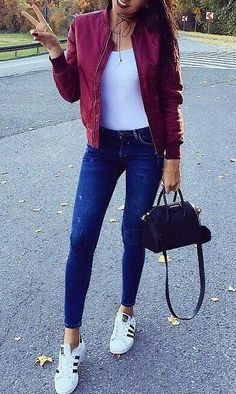 15 Best Red bomber jacket outfit images | Bomber jacket outfit .