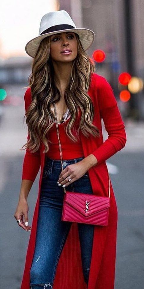 50+ Fashionable Red Outfit Ideas   Fall outfits, Red cardigan .