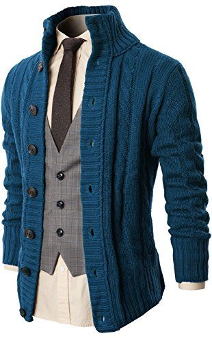 H2H Mens Casual High Neck Twisted Knit Cardigan Sweater With .