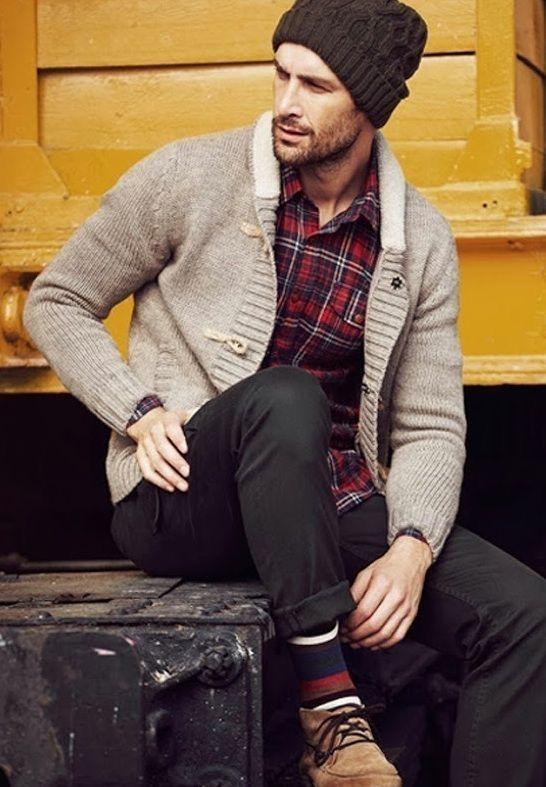 Gray shawl cardigan sweater red plaid flannel shirt black beanie .