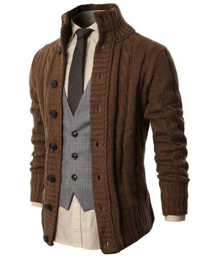 H2H Mens High Neck Twisted Knit Cardigan Sweater With Button .